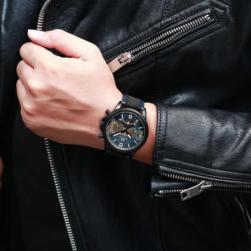 MEGALITH שעונים גברים ספורט עמיד למים שעון למעלה מותג יוקרה צבאי עור רצועת קוורץ שעונים לגברים הכרונוגרף שעון 8083m
