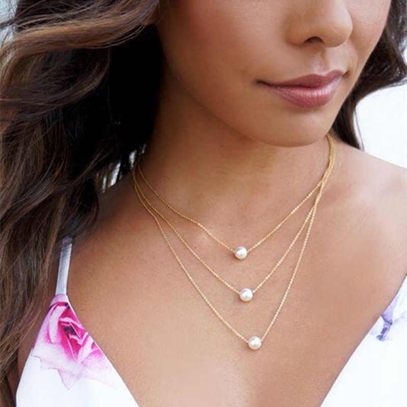 Nova dupla camada colar para mulheres imitação de pérola de cristal coração pingente gargantilhas colares meninas presente boemia barato jóias