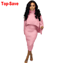 Tracksuits-Sets Dresses Knitted-Suits Two-Piece-Set Velvet Elegant Casual Women Warm
