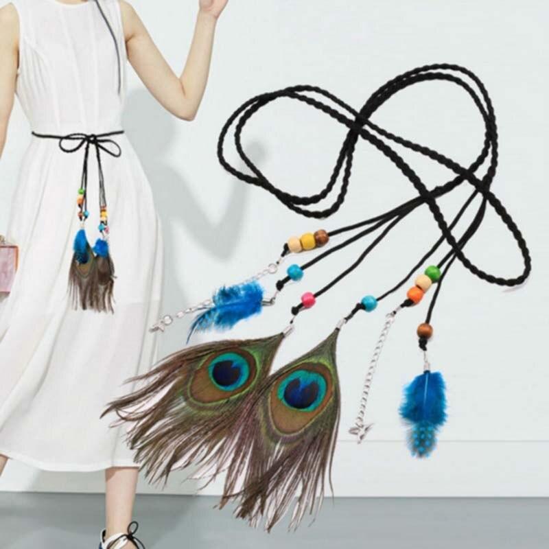 Nuevos accesorios hoja decorativa Pavo Real Folk-Custom trenzado cinturón de plumas cadena delgada cinturón para las mujeres F0071