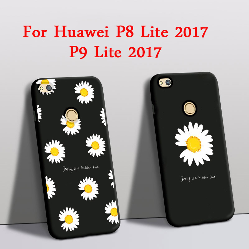 For Huawei P8 Lite 2017 Case Silicone Protector Rose Daisy Flower ...
