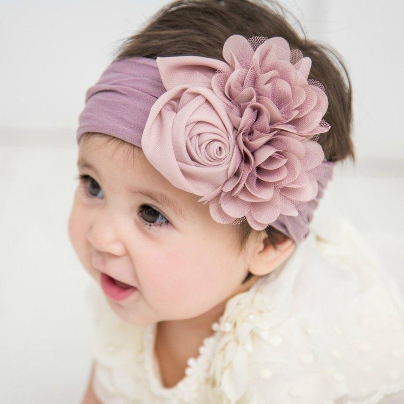 Nishine Soft Stretch Satin Rose Flower Baby Headband Newborn Knot Wide Nylon Headwraps Turban Girls Headwear Kids Photo Props