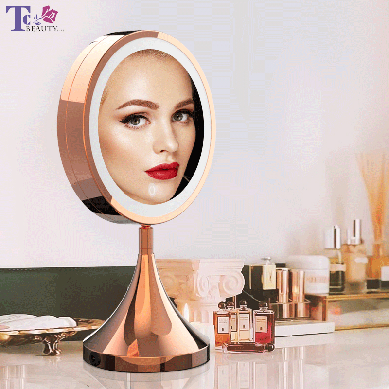 LED Makeup Mirror 8 Inch Rose Gold HD Vanity Mirror Desktop Adjustable Touch Control Brightness Cosmetic Mirrors For Girl Gift