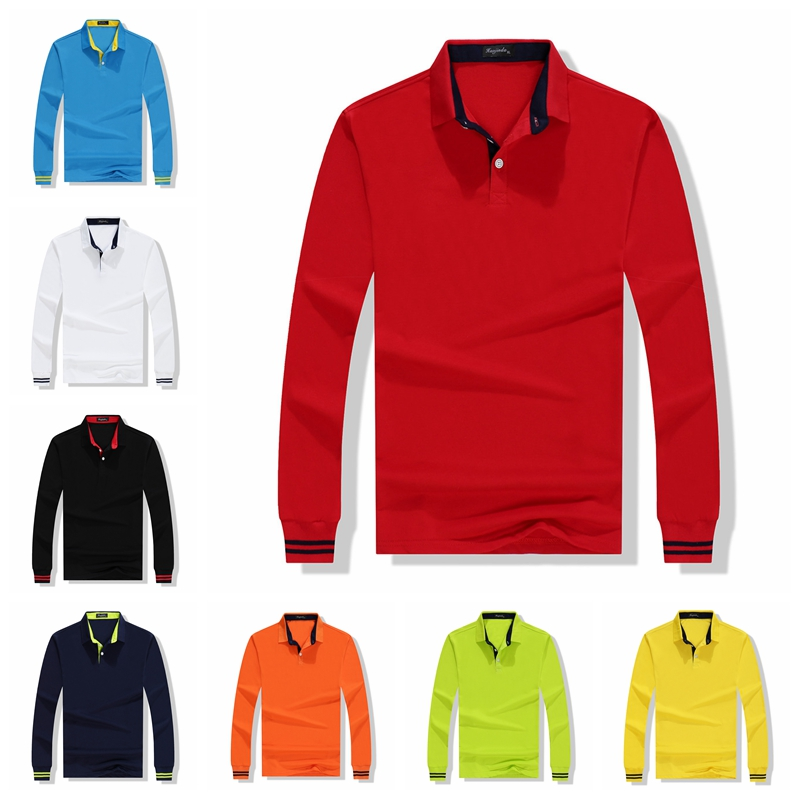 High Quality Men   Polo   Shirt Fall Long Sleeve Solid Large Size Top Autumn   Polos   Shirt Fashion Popular Casual Cotton 4XL Clothing