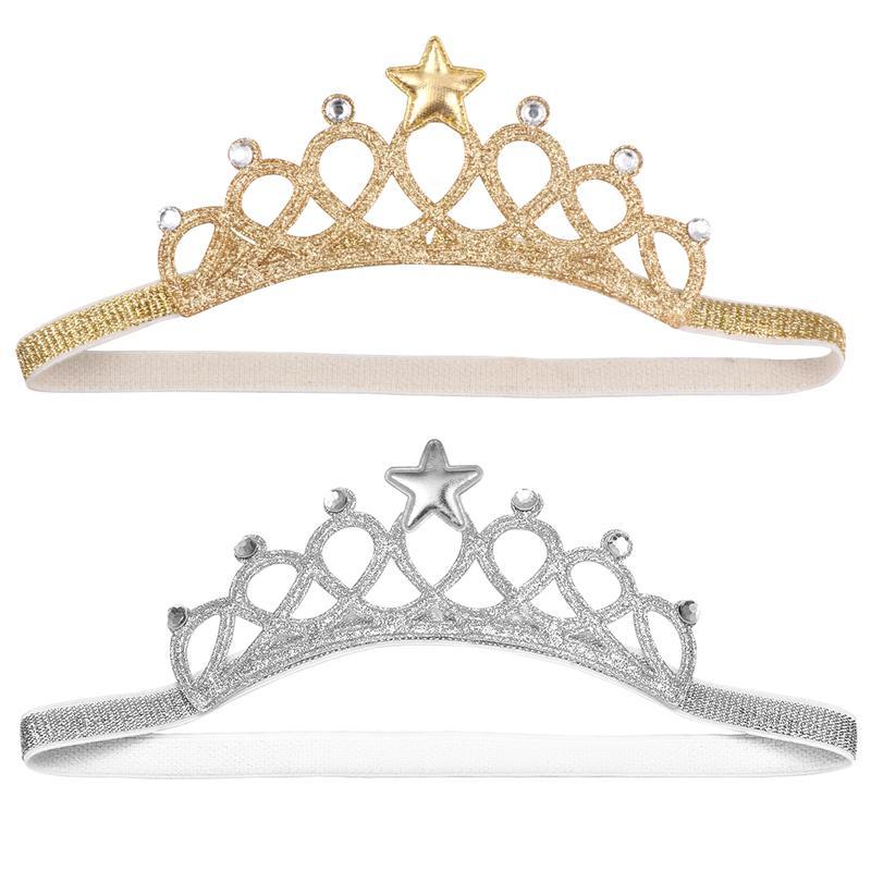 2Pcs Baby Girls Crown Tiara Headband Head Wrap Hair Band Headwear Birthday Gift Princess Tiara Crown Headband (Silver Golden)