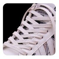 Weiou-cordones de piel con personalidad para hombre y mujer, 0,7 Cm, Blanco plano, Irregular, patrón de piel de serpiente, botas para niños, zapatillas