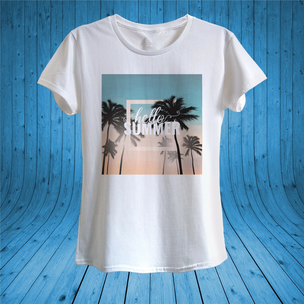 Hello Summer Print Palm Trees Summer Holidays T­-Shirt 100% Cotton Unisex Women Tops Tee Tee Shirt