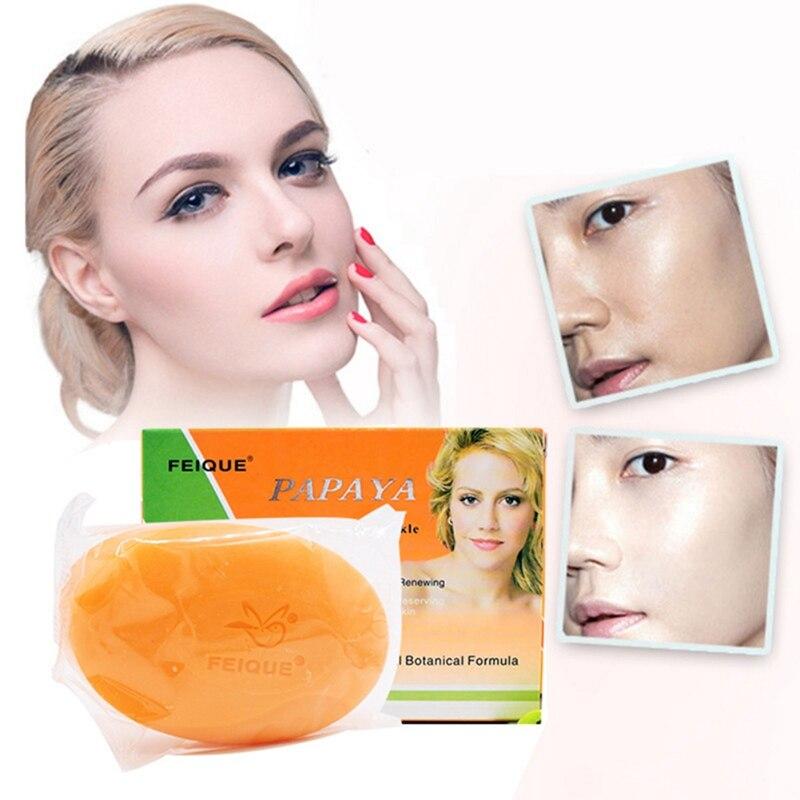 Handmade Whitening Soap Original Papaya Skin Lightening Soap Bleaching Glycerin Soap Deep Cleaning Brighten Skin Care Face Cleansing