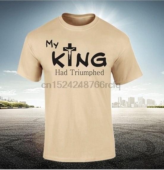 2018 Nieuwe Mode Mannen Shirt Mijn Koning Had Triumphed Jezus Christus Christelijke Bijbel Mannen Zomer Tshirt