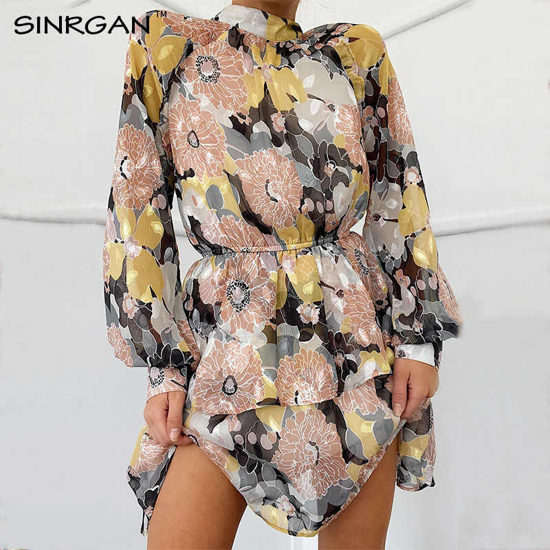 SINRGAN Black Floral Print 2020 Spring Dress Cascading Ruffle Stand Collar Short Above Knee Dress Summer Holiday Elegant Dress