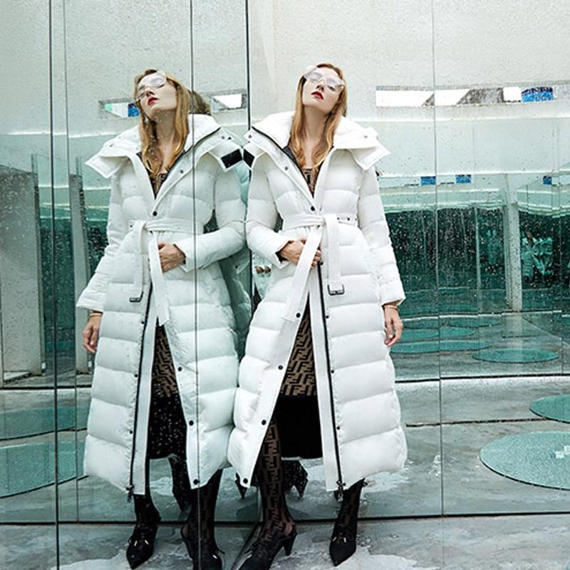 White Duck Down Jacket Women Winter 2020 Brand Female Parka Long Puffer Jacket Hooded Snow Outwear Thick Warm Waterproof Coats