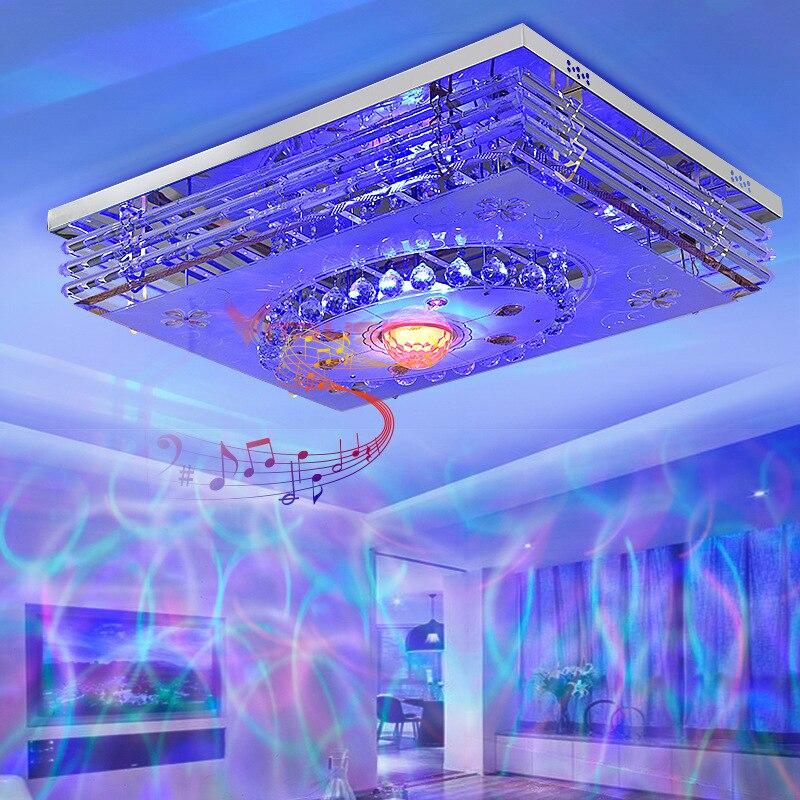 Mordern Светодиодный потолочный светильник с кристаллами, лампа RGB с регулируемой яркостью, 220 В, приложение Bluetooth и музыкальный динамик, цветна... - 2