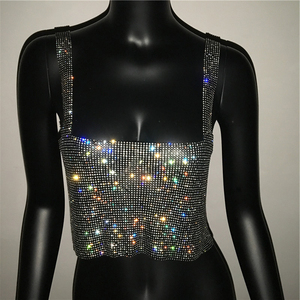Image 5 - 2019 Glitter Nightclub Backless Rhinestone Tank Top Women Sexy Metal Crystal Diamonds Sequined Night Club Party Wear Crop Top