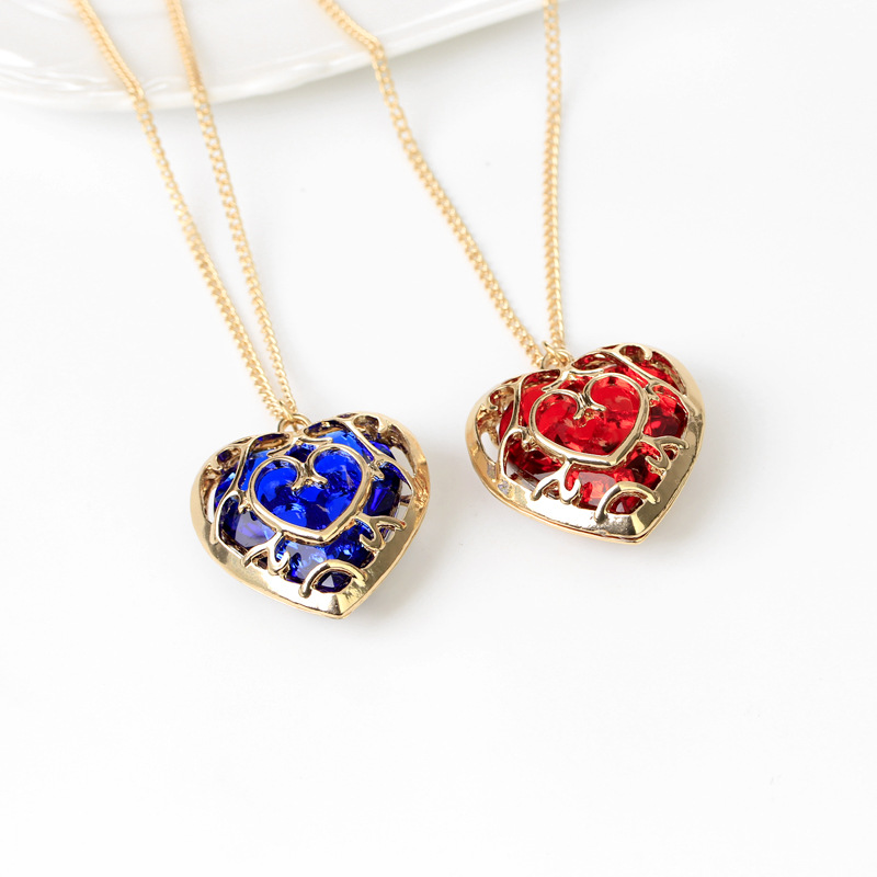 Game Anime Zelda Breath Of The Wild Cosplay Costume Necklace Hollow Out Love Crystal Props Alloy Pendant Gift Accessories