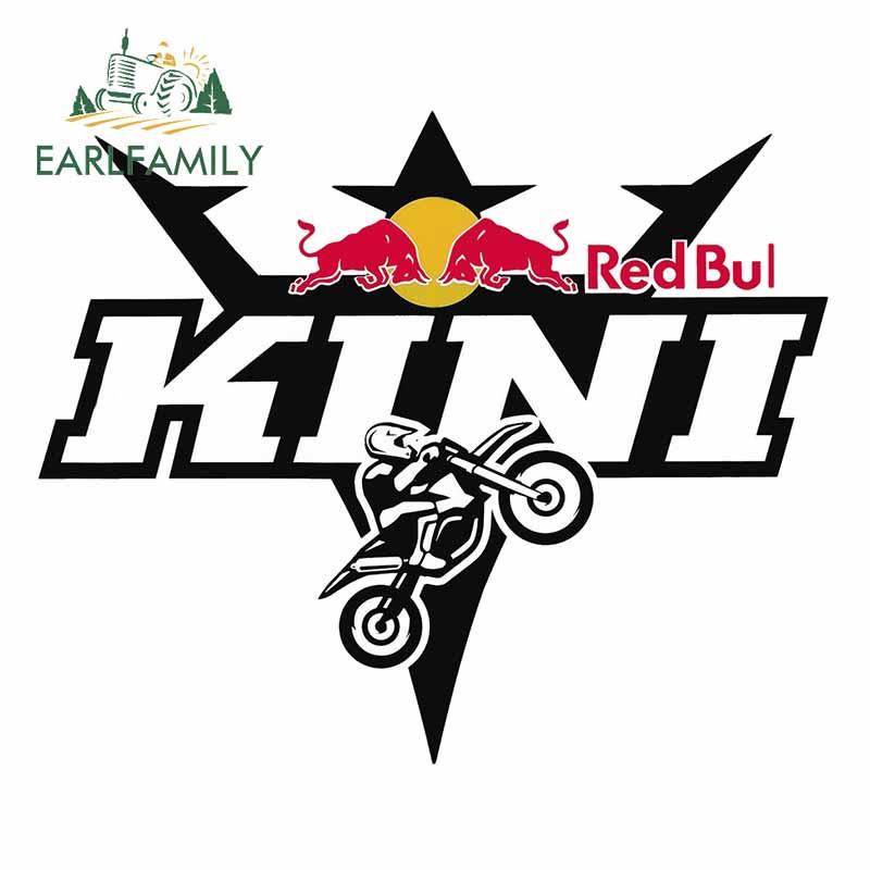 EARLFAMILY 13cm X 10.9cm For Red Of Bull Bike Kini Auto Bumper Window Car Stickers Sticker Decoration Funny Simulation Fun Decal