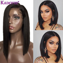 Natural Color Bob Wig Lace Front Human Hair Wigs Brazilian Remy Hair Straight Short Wig with Baby Hair Pre Plucked For Women