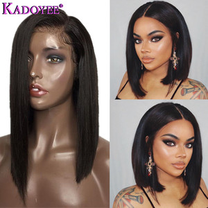 Image 1 - Natural Color Bob Wig Lace Front Human Hair Wigs Brazilian Remy Hair Straight Short Wig with Baby Hair Pre Plucked For Women