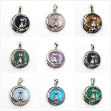 FYJS Unique Jewelry Silver Plated Crescent Moon Cute Cat Amethysts Round Bead Pendant Opalite Opal