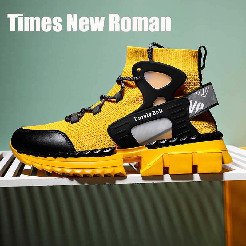 Times New Roman 2020 Frühling Socke Schuhe Atmungsaktiv Männer Chunky Turnschuhe Mode Höhe Zunehmende Mann Casual Schuhe Plus Größe 39 ~ 46