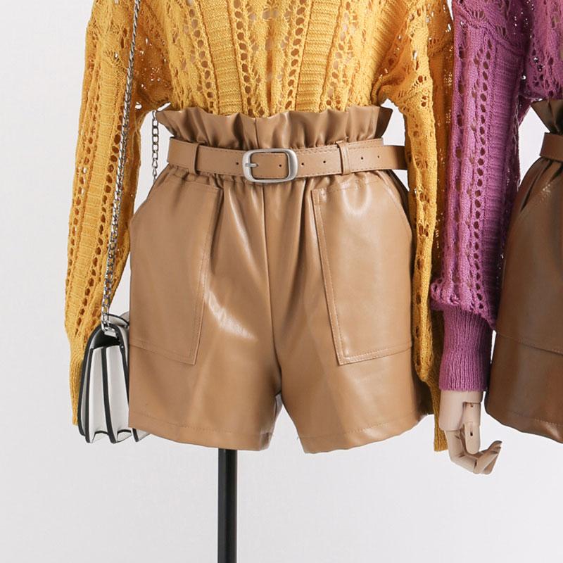 Elastic High Waist Loose PU Leather Shorts Women England Style Sashes Wide Leg Short Ladies