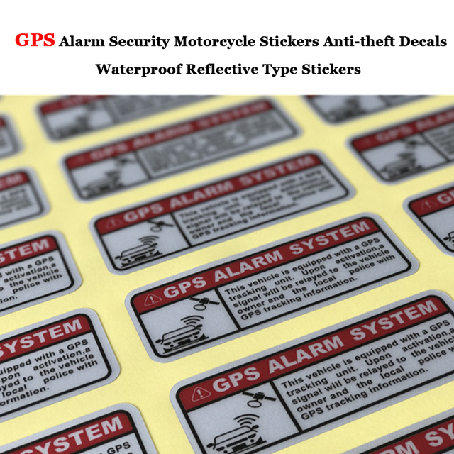 2pcs /Set Car Decals Warning Letters GPS Alarm Security Motorcycle Stickers Anti-theft Decals Waterproof Reflective Type Sticker
