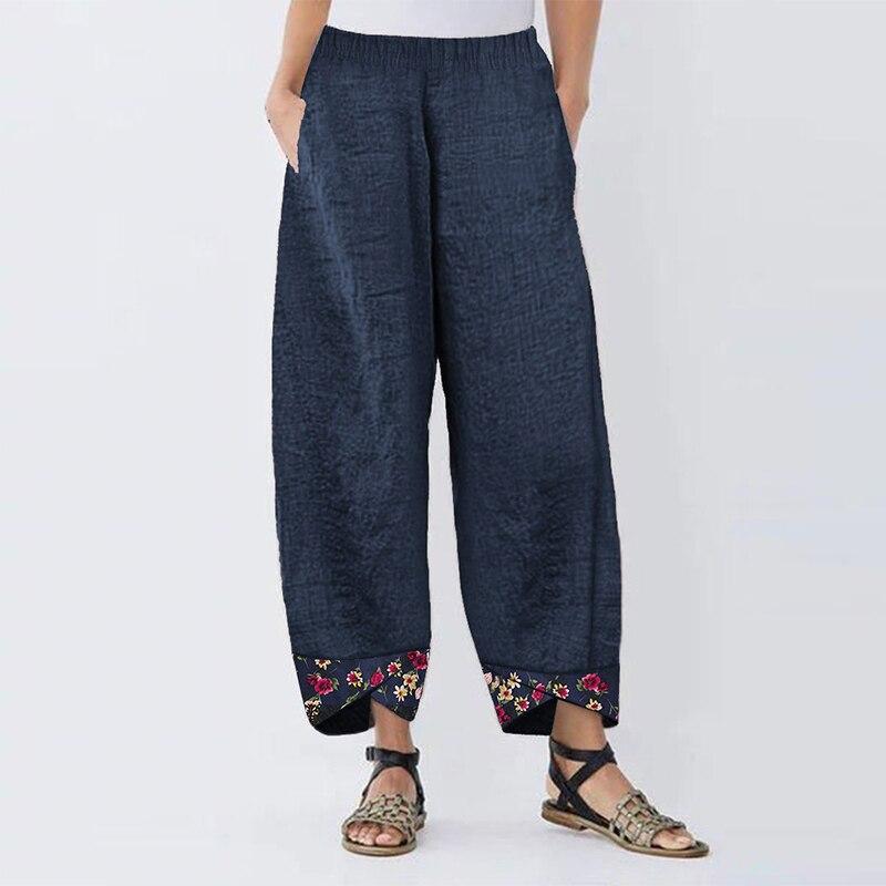 2019 Plus Size Women   Wide     Leg     Pants   Floral Printed Patchwork Long Pantalones Casual Solid Elastic Waist Irregular LooseTrousers