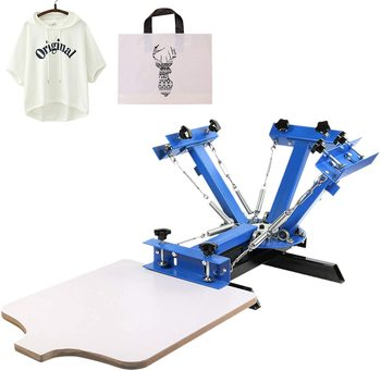 Screen Printing Machine 4 Color 1 Station Screen Printing Press 21.7X 17.7 Inch For T-Shirt DIY Printing недорого