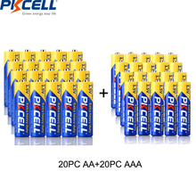 (40 قطعة حزمة) PKCELL 20 قطعة R03P 1.5 فولت AAA بطارية 20 قطعة 1.5 فولت AA بطاريات R6P 2A/3A الكربون استخدام واحد بطارية ميزان الحرارة البطارية