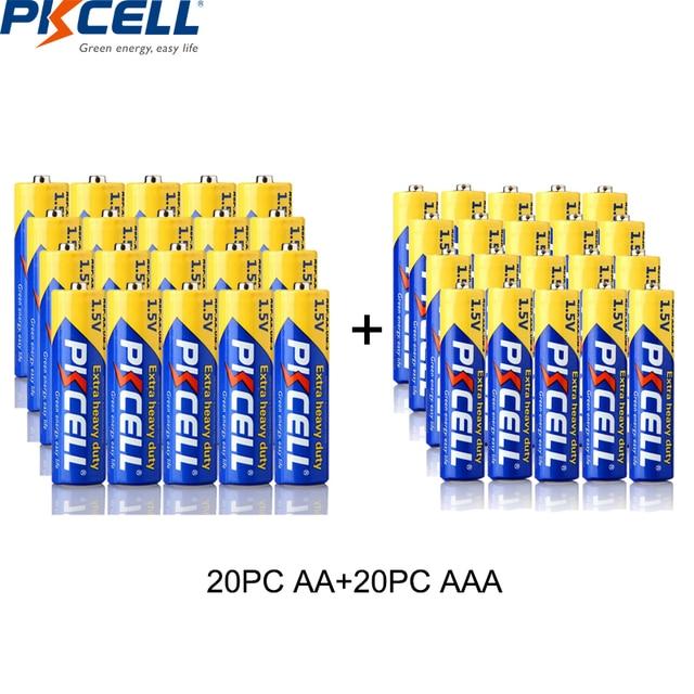 PKCELL Batería de carbono R03P de 1,5 V AAA, paquete de 40 20 piezas, pilas AA de 1,5 V, batería de carbono R6P 2A/3A, uso único, termómetro