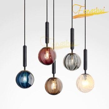 Nordic Led Glass Pendant Lights Lighting Modern Pendant Lamp Interior Decoration Loft Living Room Hotel Restaurant Hanging Lamps