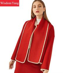 2 stück Set Winter Mantel Frauen Anzüge Jacken Rot Wolle Vintage Koreanische Damen Shorts Mäntel Röcke A-line Woolen Koreanische Mantel