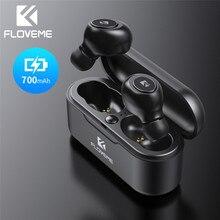 FLOVEME TWS 5.0 หูฟังไร้สาย Bluetooth สำหรับ iPhone Samsung Mini หูฟังไร้สายบลูทูธ 3D สเตอริโอเสียงหูฟังชุดหูฟัง