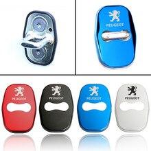 Accesorios de estilo de coche para Peugeot 307, 206, 308, 207, 406, 407, 408 emblemas cubierta de cerradura de puerta de coche-estilo