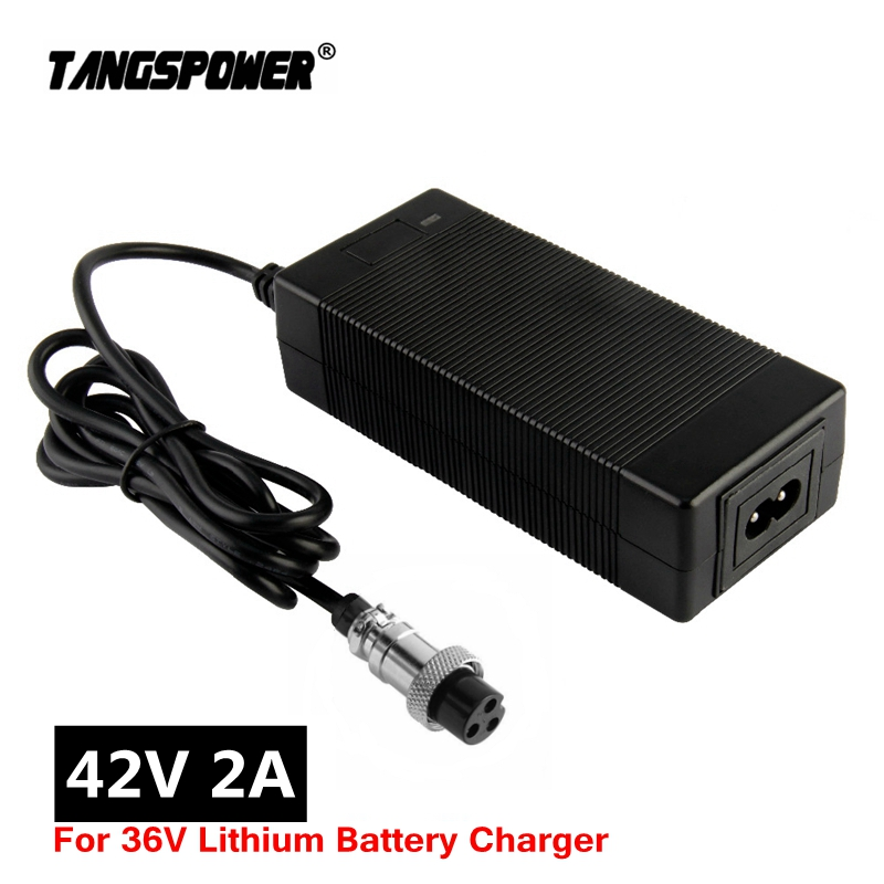 42V 2A electric bike lithium battery charger for 36v electric scooter 3-Prong Inline Connector 3P GX16 Plug