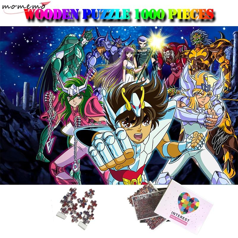모모 세인트 세이야 1000 조각 나무 퍼즐 만화 애니메이션 퍼즐 퍼즐 성인을위한 diy 조립 퍼즐 게임 멋진 선물