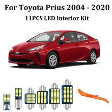 11 pces canbus led luzes interiores do carro pacote kit para toyota prius 20 30 40 50 nhw20 zvw40 zvw50 zvw51 zvw55 (2004-2020)
