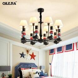 Żyrandole żyrandol pokojowy dla dzieci chłopcy i dziewczęta lampka do sypialni kreatywne lampy śródziemnomorskie