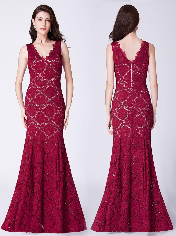 Mermaid Red Sexy Lace Evening Dress 2019 Elegant Double V neck Sleeveless Floor length Dress Rose Type Zipper up Dress