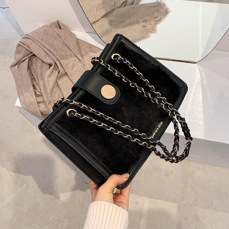 с доставкой Winter Warm Soft Lambswool Handbags 2021 Totes Women's Shoulder Bag Handbags and Purses Lady Crossbody Hand Bags