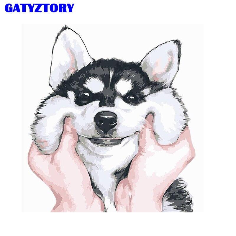 GATYZTORY рамка животное собака дружба DIY цифровой набор для рисования по номерам ручная роспись Современная Настенная живопись холст|Картина по номерам|   | АлиЭкспресс