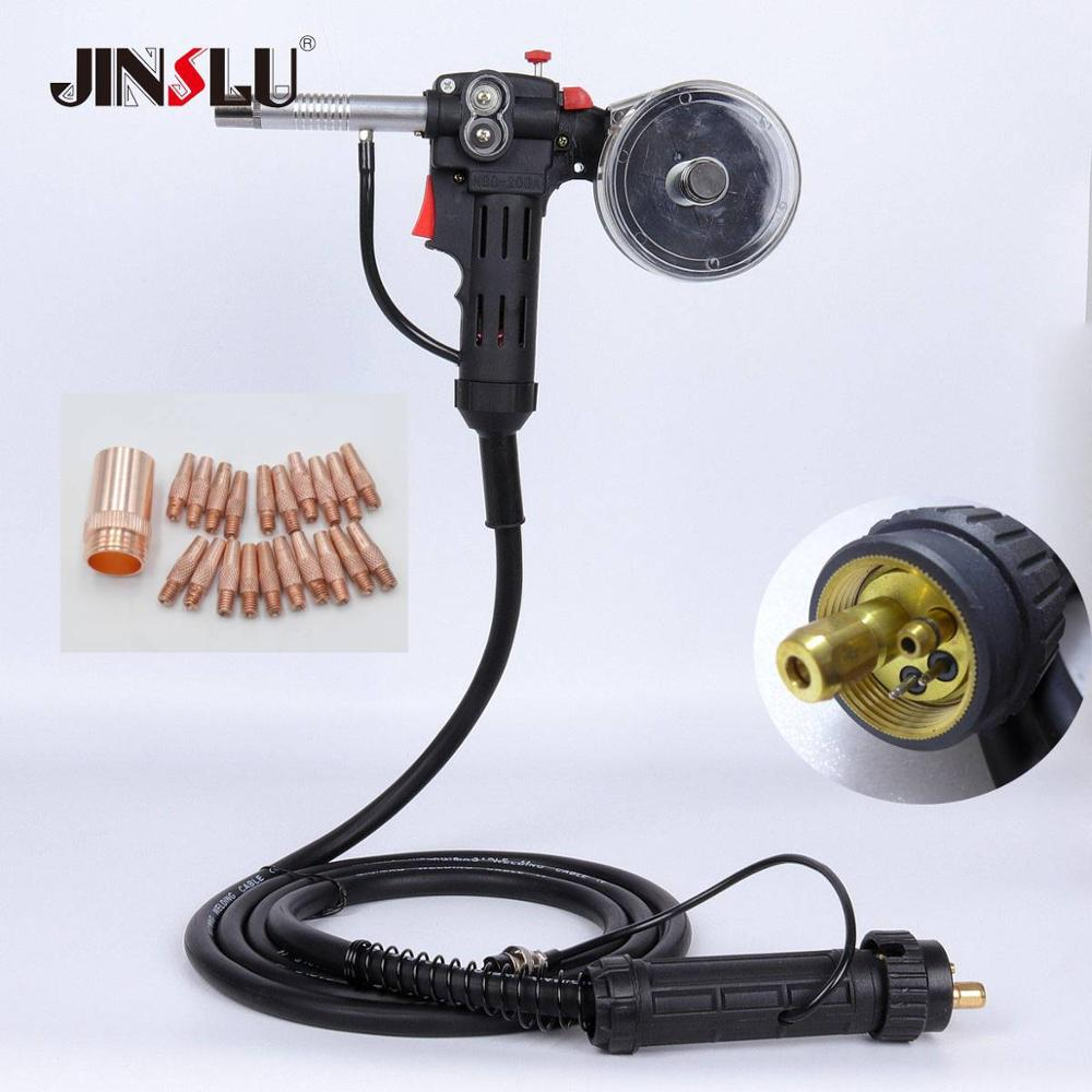 10Ft 3 Meters MIG Welder Spool Gun Wire Feeder Aluminum Welder Use Standard Spool with Euro Connection 24V DC Motor Free Nozzle