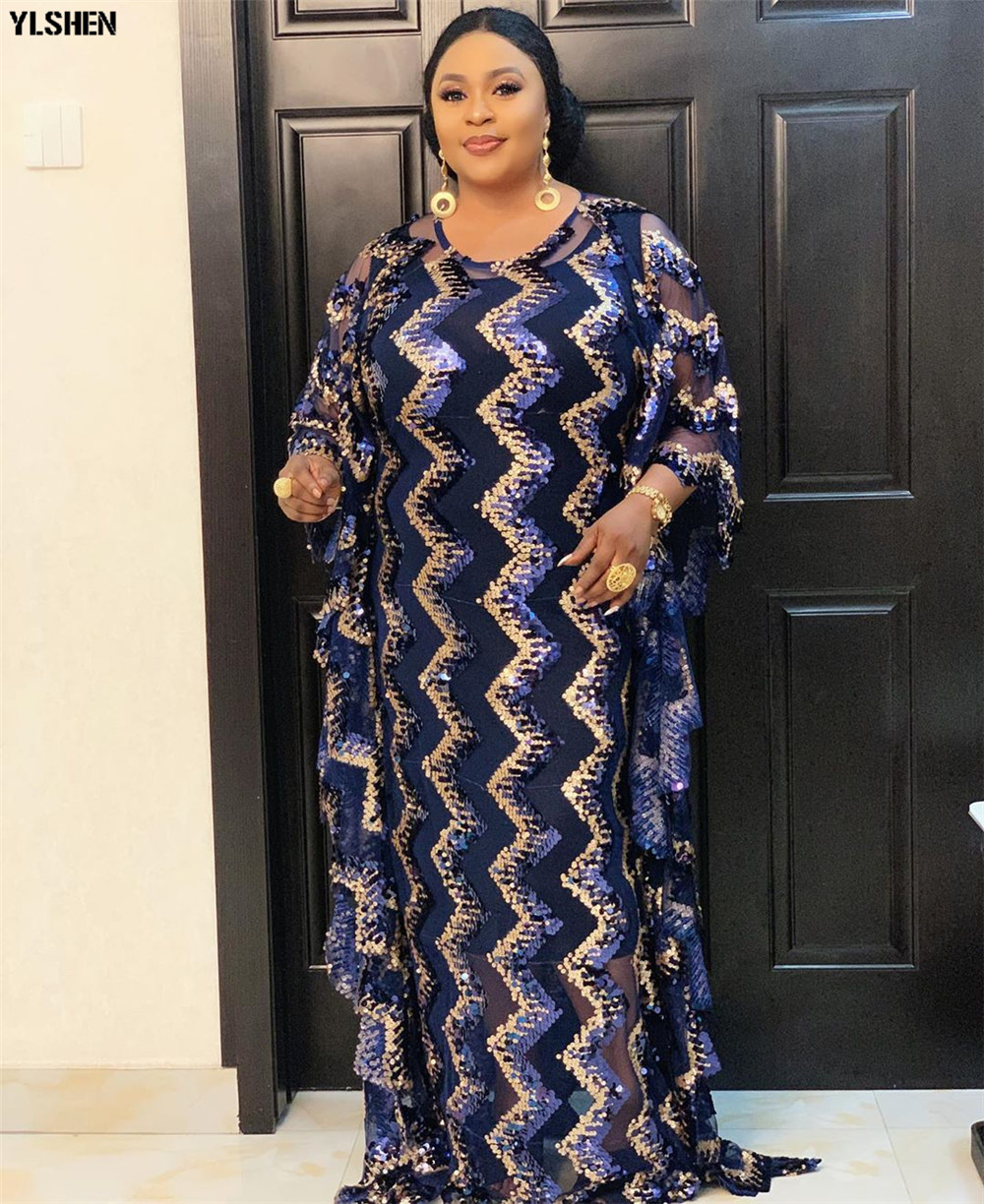 African Dresses For Women Plus Size Dashiki Sequined Muslim Evening Party Dress African Clothes Africa Traditional Robe Clothing