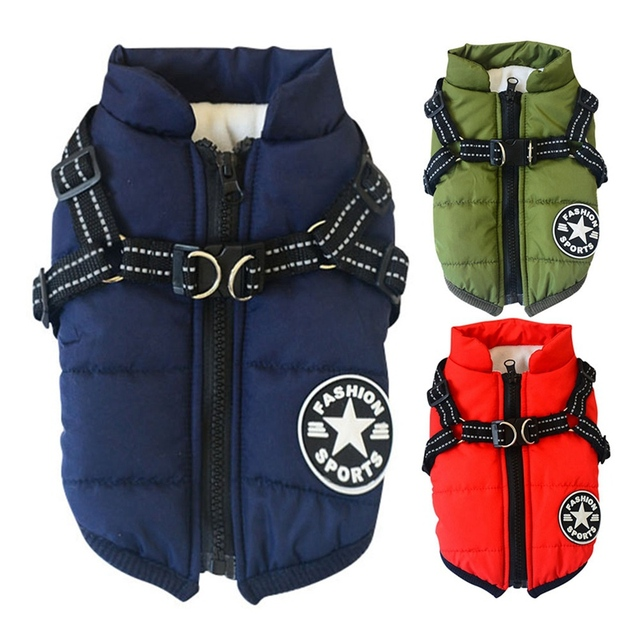 Pet Harness Coat Winter Cotton Jacket with Harness Puppy  1