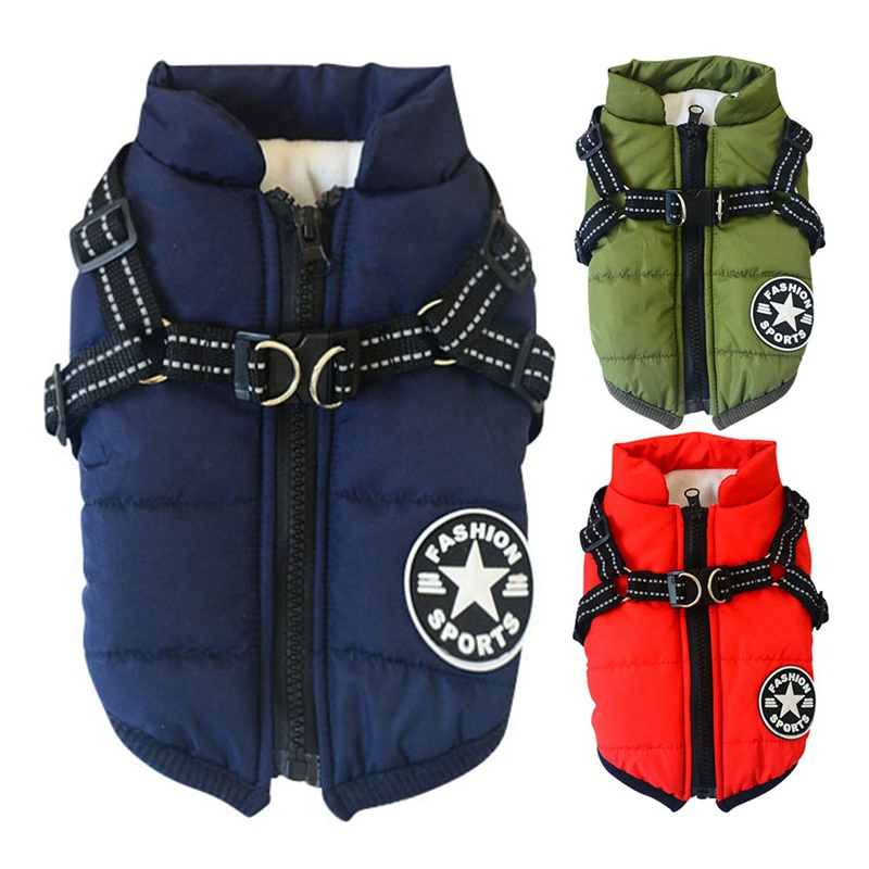 Cotton Dog Jacket in Large Tooth Zipper Design with Harness and Adjustable Chest Strap