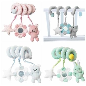 Grzechotki mobilne do łóżka zabawki dla niemowląt śliczne łóżeczko dziecięce wózek spiralny noworodek 0-12 miesięcy edukacyjne zwierzęta kreskówkowe miękka grzechotka dla niemowląt tanie i dobre opinie HXWANX Tkaniny CN (pochodzenie) Unisex Rattle Toy Baby Toy Infant Cartoon Animals Mobile To Bed Educational 13-24 miesięcy