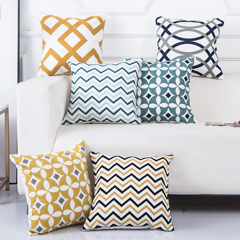 Cotton Embroidery Geometric Pillowcase Nordic 45*45 Cushion Cover Cojines Decorativos Para Sofa New Year Home Decorative Pillows
