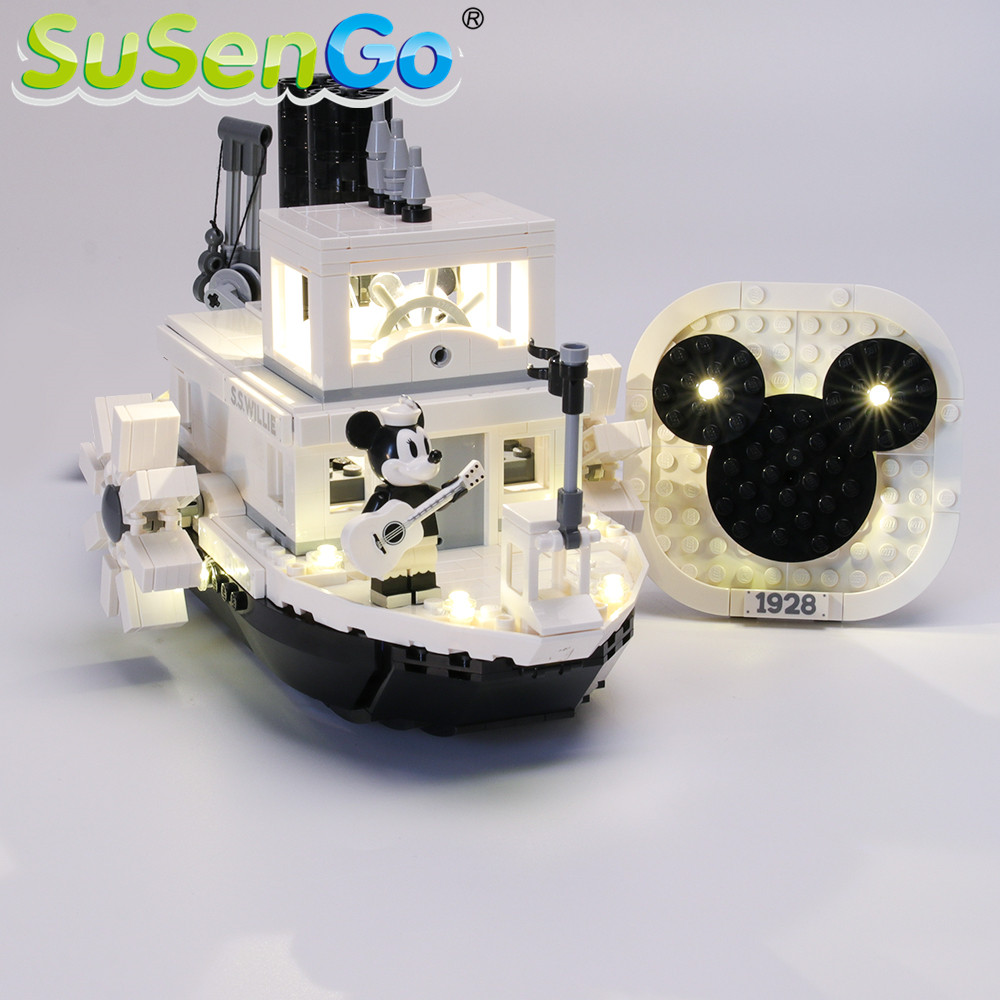 SuSenGo LED Light Set For Ideas Steamboat Willie Building Blocks Lighting Set Compatible With 21317 (Model Not Included)
