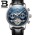 Relojes hombre Bussinest часы Бингер кожа для Мужчин Скелет автоматические часы спортивные механические наручные часы relogio masculino