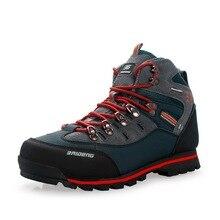 Новые мужские кожаные походные ботинки, уличные высокие водонепроницаемые Нескользящие износостойкие зимние кроссовки, походные альпинистские охотничьи ботинки