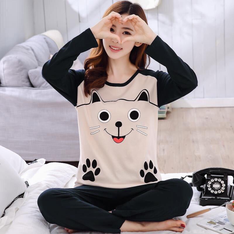 Pajamas Women's Spring And Autumn Sweet Printed Thin Pullover Pajamas Smiley Footprints Cat Long Sleeve Homewear Set